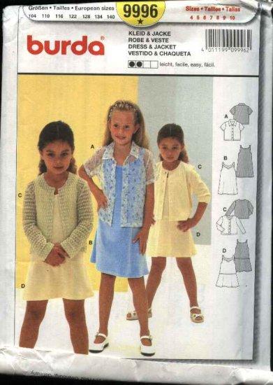 Burda Sewing Pattern 9996 Girls Size 4-10 Easy Dress Jacket Blouse