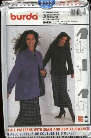 Burda Sewing Sewing Pattern 8733 Misses Sizes 12-22  Mock wrap Skirt PulloverTop Jacket