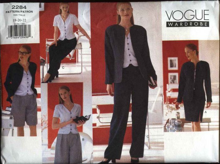 Vogue Sewing Pattern 2284 Misses size 18-20-22 Easy Wardrobe Jacket Skirt Pants Top Shorts