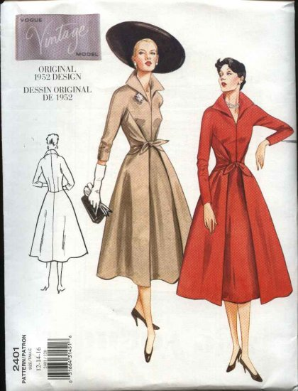 Vogue Sewing Pattern 2401 V2401 Misses Size 12-16 1952 Style Day Dress