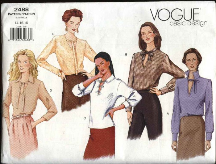 Vogue Sewing Pattern 2488 Misses Size 8-10-12 Easy Basic Long Sleeve Blouse