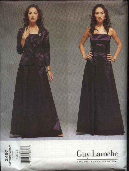 Vogue Sewing Pattern 2497 Misses Size 6-8-10 Guy Laroche Two Piece Dress Jacket Formal Gown