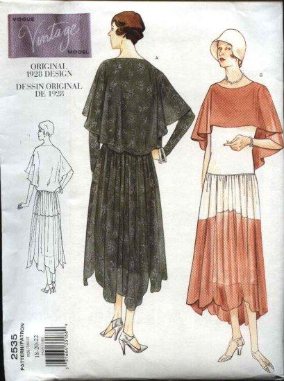 Vintage Vogue Sewing Pattern 2535 Misses size 18-20-22 1928 style Dress Slip