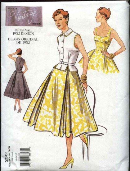 Vintage Vogue Sewing Pattern 2561 Misses size 6-8-10 1952 style Dress Top Belt