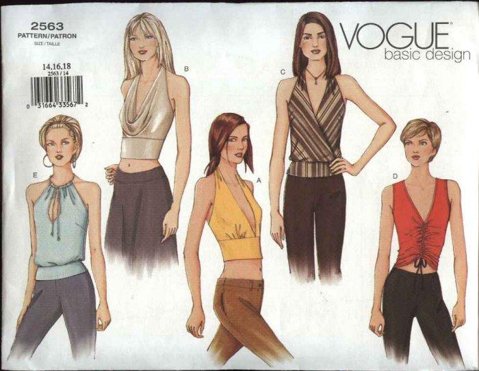 Vogue Sewing Pattern 2563 Misses Size 14-16-18 Easy Basic Halter Tops