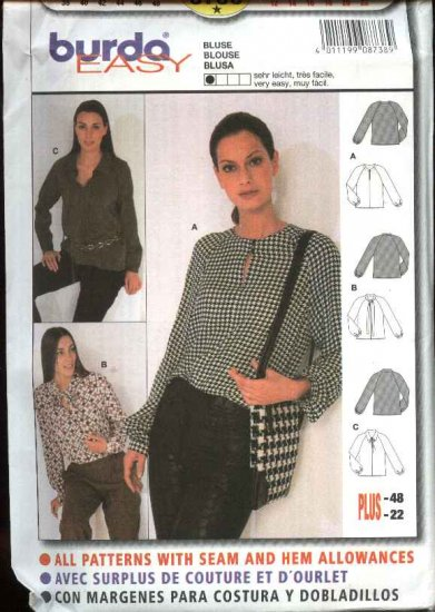 Burda Sewing Pattern 8738 Misses Size 12-22 Easy Pullover Blouse Top