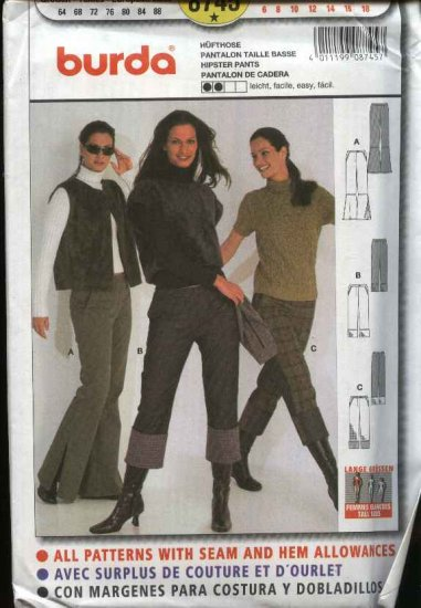 Burda Sewing Pattern 8745 Misses TALL Sizes 6-18 Easy Hipster Pants Bell Bottoms