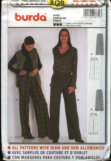 Burda Sewing Pattern 8756 Misses Size 10-20 Pants Slacks Trousers