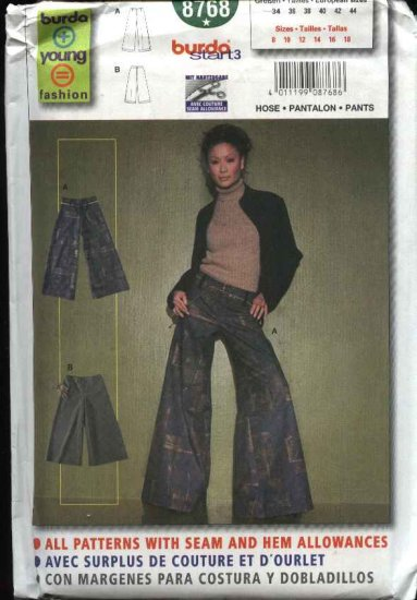 Burda Sewing Pattern 8768 Misses Sizes 8-18 Easy Pants Wide Bell Bottoms