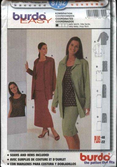 Burda Sewing Pattern 8792 Misses Sizes 10-22 Easy Wardrobe Jacket Shell Top Skirt