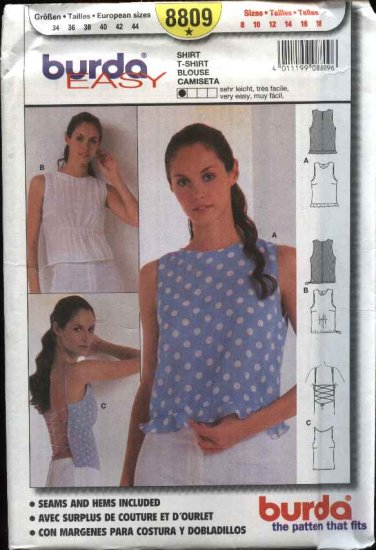 Burda Sewing Pattern 8809 Misses Sizes 8-18 Easy Pullover Blouse Top