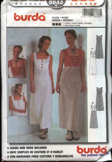Burda Sewing Pattern 8833 Misses size 10-20 Summer Dress