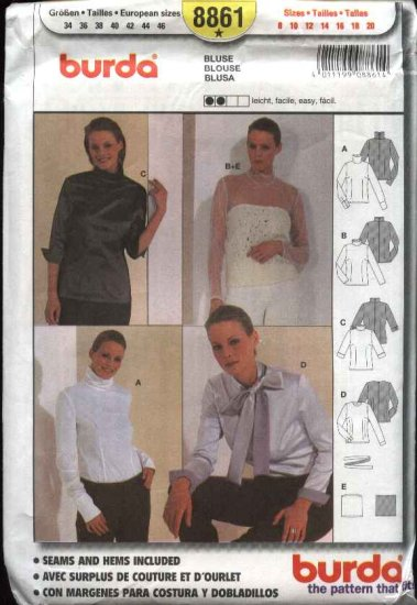 Burda Sewing Pattern 8861 Misses Sizes 8-20 Easy Blouses Tops
