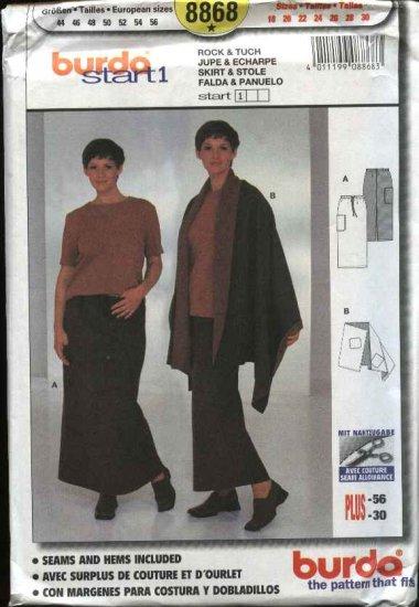 Burda Sewing Pattern 8868 Women's Plus Sizes 18-30 Easy Skirt Stole Wrap