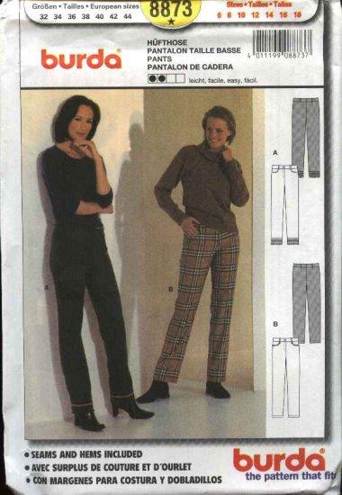 Burda Sewing Pattern 8873 Misses Sizes 6-18 Easy Pants Slacks