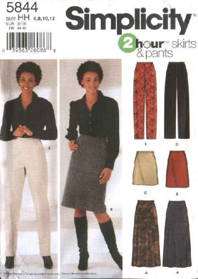 Simplicity Sewing Pattern 5844 Misses Size 14-22  2 Hour A-Line Long Short Skirts Straight Pants
