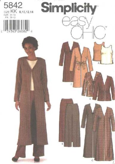 Simplicity Sewing Pattern 5842 Misses Size 8-14 Easy Duster Fitted Pants Tank Top Shell Jacket