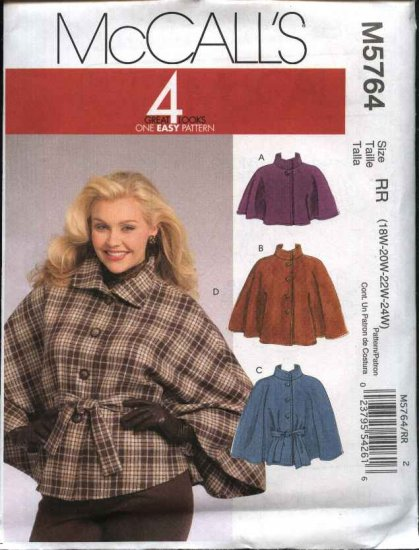 McCall's Sewing Pattern 5764 Women's Plus Sizes 18W-24W Easy Capelets & Belt