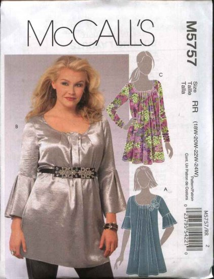 McCall's Sewing Pattern 5757 Women's Plus Size 18W-24W Pullover Tunics Tops Blouse