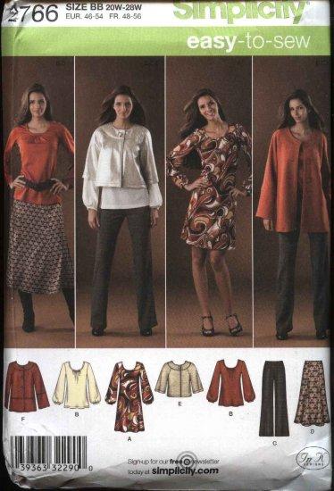Simplicity Sewing Pattern 2766  Womans Plus Size 20W-28W Easy Wardrobe Jacket Dress Pants Skirt