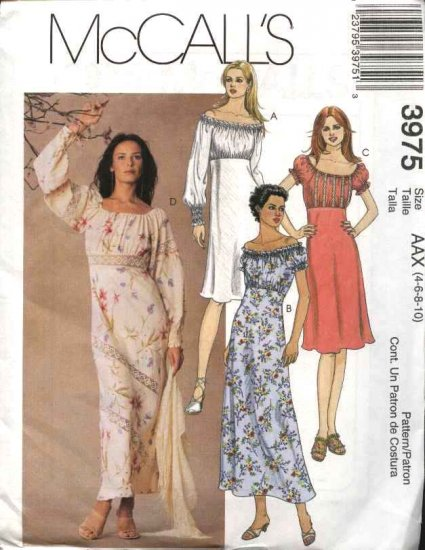 McCall's Sewing Pattern 3975 Misses Size 4-10 A-line Bias Peasant Baby Doll Empire Waist Dresses