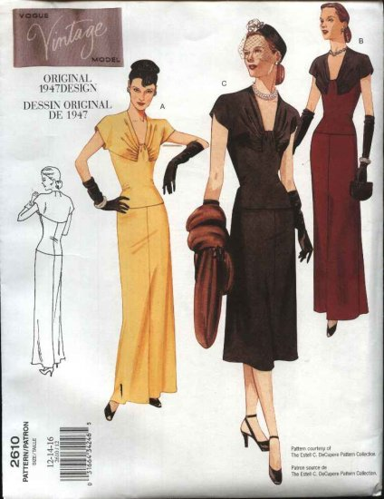 Vogue Sewing Pattern 2610 Misses size 6-8-10 1947 Style Evening Day Dress Formal