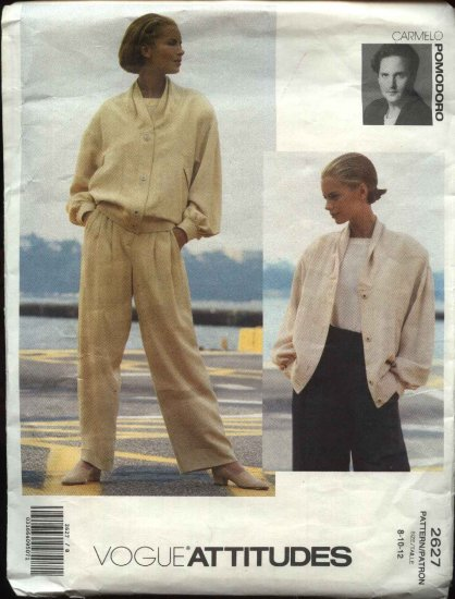Vogue Sewing Pattern 2627 Misses size 8-10-12 Jacket Pants Carmelo Pomodoro Label