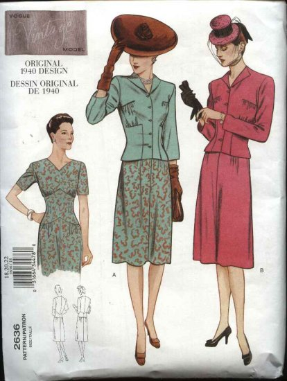 Vogue Sewing Pattern 2636 Misses size 6-8-10 1940 Vintage Style Dress Jacket