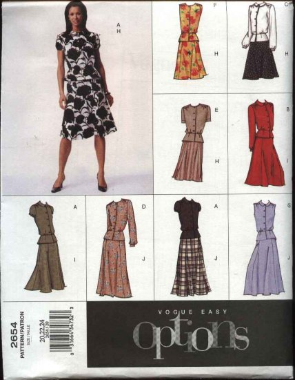 Vogue Sewing Pattern 2654 Misses Size 14-18 Easy Flared Skirt Blouse Peplum Top