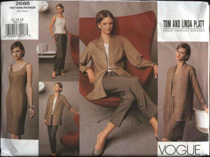 Vogue Sewing Pattern 2686 Misses size 6-8-10 Wardrobe Jacket Dress Top Pants Tom  Linda Platt