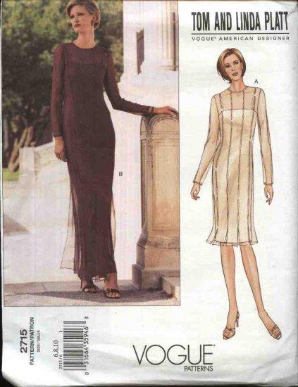 Vogue Sewing Pattern 2715 Misses Size 6-8-10 Tom Platt Evening Gown Dress Formal