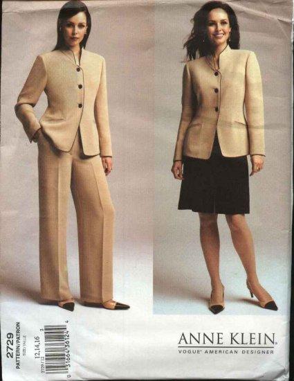 Vogue Sewing Pattern 2729 Misses Size 12-14-16 Anne Klein Jacket Pants Skirt
