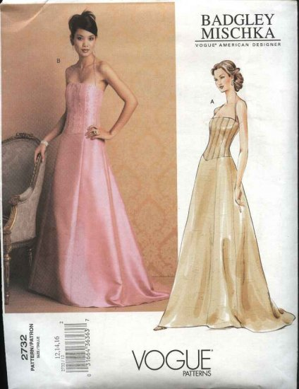 Vogue Sewing Pattern 2732 Misses size 18-20-22 Badgley Mischka Dress Evening Gown Formal