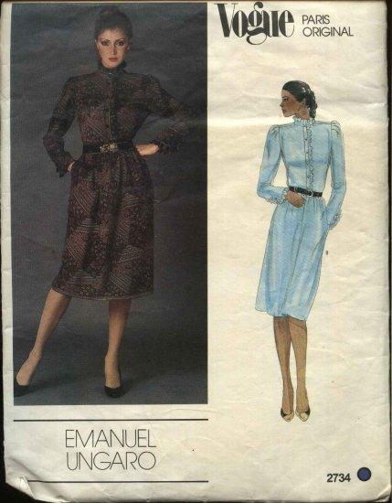 Vogue Sewing Pattern 2734 Misses size 10 Dress Paris Original Emanuel Ungaro