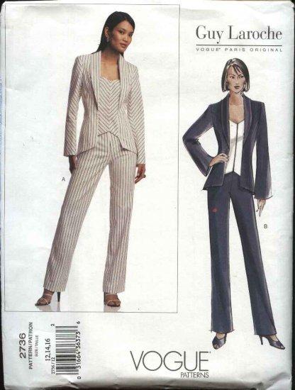 Vogue Sewing Pattern 2736 Misses size 6-8-10 Guy Laroche Pants Jacket Paris Original