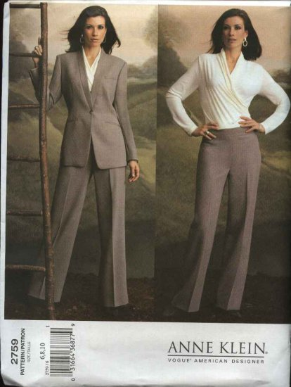 Vogue Sewing Pattern 2759 Misses size 6-8-10 Anne Klein Pants Jacket Mock Wrap Front Top
