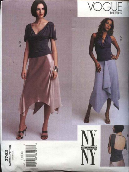 Vogue Sewing Pattern 2762 Misses Size 8-10-12 NYNY Pullover Top Draped Skirts