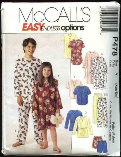 McCall's Sewing Pattern 478 MP478 Boys Girls Size 2-7 Easy Pajamas Robe Top Pants Nightgown