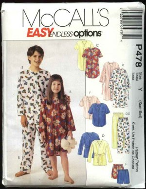 McCall's Sewing Pattern 478 MP478 Boys Girls Size 8-14 Easy Pajamas Robe Top Pants Nightgown