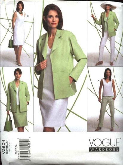 Vogue Sewing Pattern 2804 Misses Size 20-22-24 Easy Wardrobe Jacket Top Dress Skirt Pant
