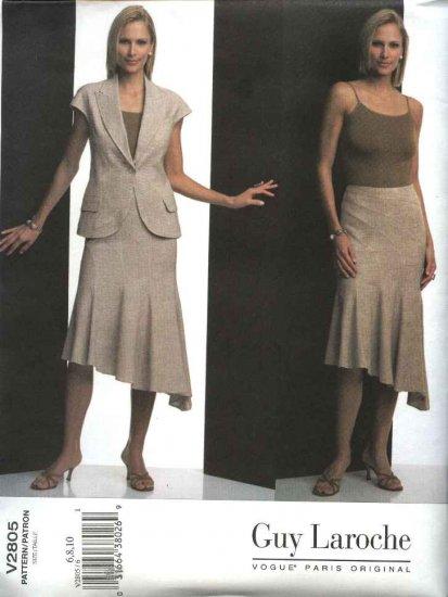 Vogue Sewing Pattern 2805 Misses Size 6-8-10 Guy Laroche Summer Suit Jacket Skirt