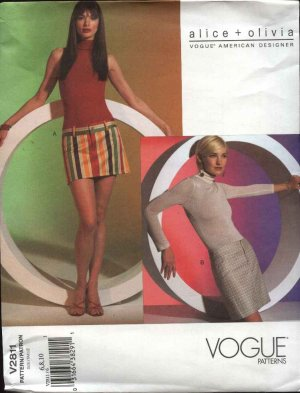 Vogue Sewing Pattern 2811 Misses Size 6-8-10 alice + olivia Easy Mini-Skirts