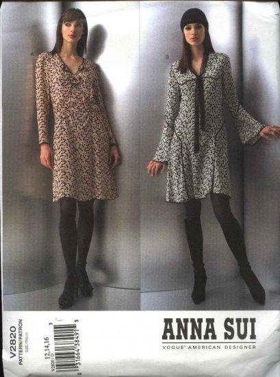 Vogue Sewing Pattern 2820 Misses Size 18-20-22 Anna Sui 2 Dresses