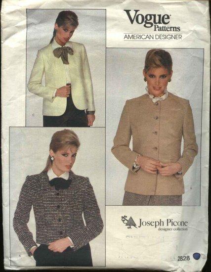 Vogue Sewing Pattern 2828 Misses size 10 Princess Seam Lined Jacket Joseph Picone