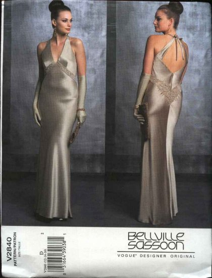Vogue Sewing Pattern 2840 Misses size 6-8-10 Bellville Sassoon Evening Gown Formal Halter Dress