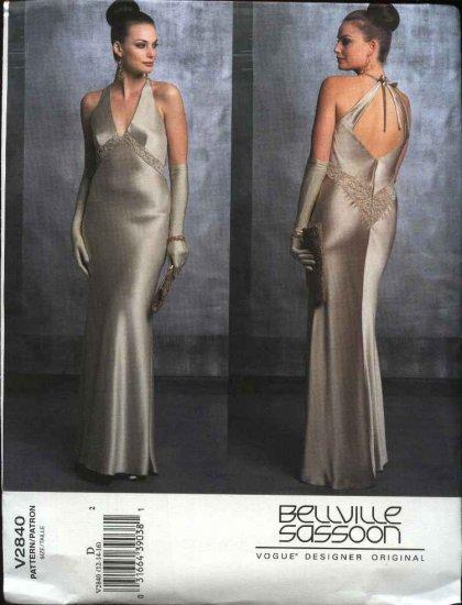 Vogue Sewing Pattern 2840 Misses size 12-14-16 Bellville Sassoon Evening Gown Formal Halter Dress