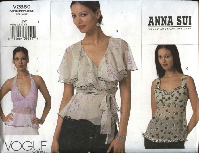 Vogue Sewing Pattern 2850 Misses Size 18-20-22 Anna Sui 3 Different Blouses Halter Tops