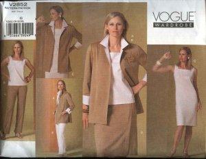 Vogue Sewing Pattern 2852 Misses Size 20-22-24 Easy Wardrobe Skirt Dress Jacket Top Pants
