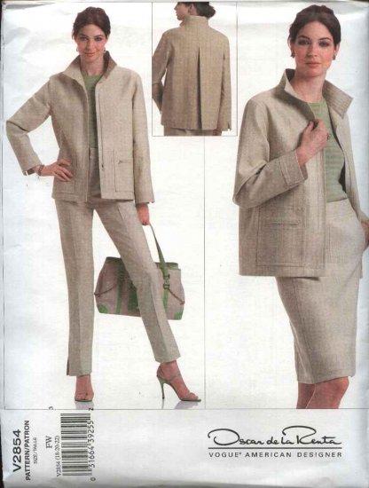 Vogue Sewing Pattern 2854 Misses size 12-14-16 Jacket Skirt Pants Oscar de la Renta