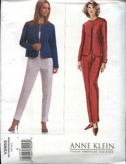 Vogue Sewing Pattern 2855 Misses size 18-20-22 Easy Anne Klein Jacket Pants Pantsuit